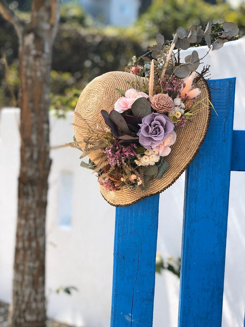 Holiday wind flower straw hat-picnic holiday birthday gift home decoration