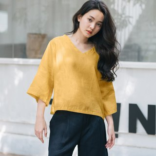V-Neck Linen Shirt - Yellow Mustard