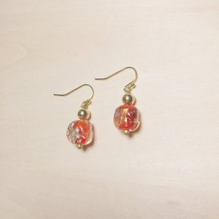 Vintage red round side square gold and silver foil glass earrings