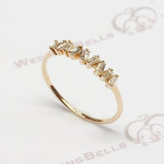 18K Rose Gold Taper Cut Diamond Ring (free shipping)