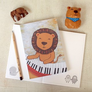 Naked mounted box notebook | piano lion