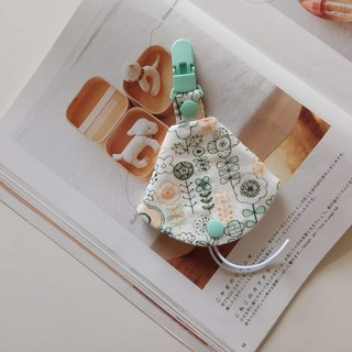 Green flower two-in-one pacifier clip < pacifier dust bag + nipple clip> dual function
