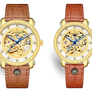Premier Jardine Pair Japanese Mechanical Watch Gold Case Leather Strap LOBOR