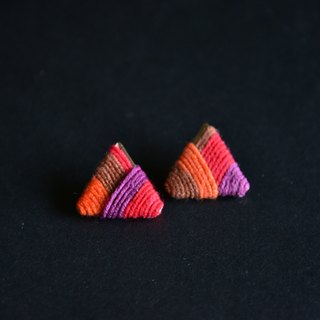 甄 girl's shop handmade handmade wool woven contrast color striped triangle earrings red