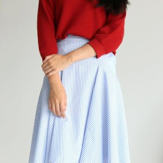 Iris Skirt light blue and white straight striped A word skirt