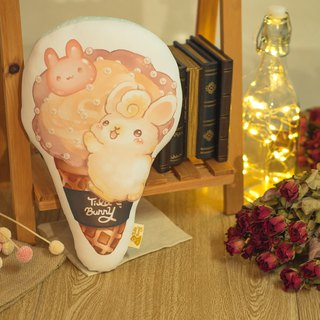 QQ double-sided pillow - cone rabbit - cappuccino rose