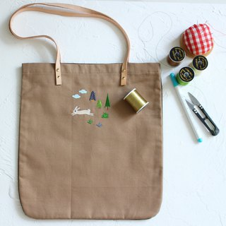 Hare two-tone tote bag  Handmade shoulder bag I Story_Lovely hare