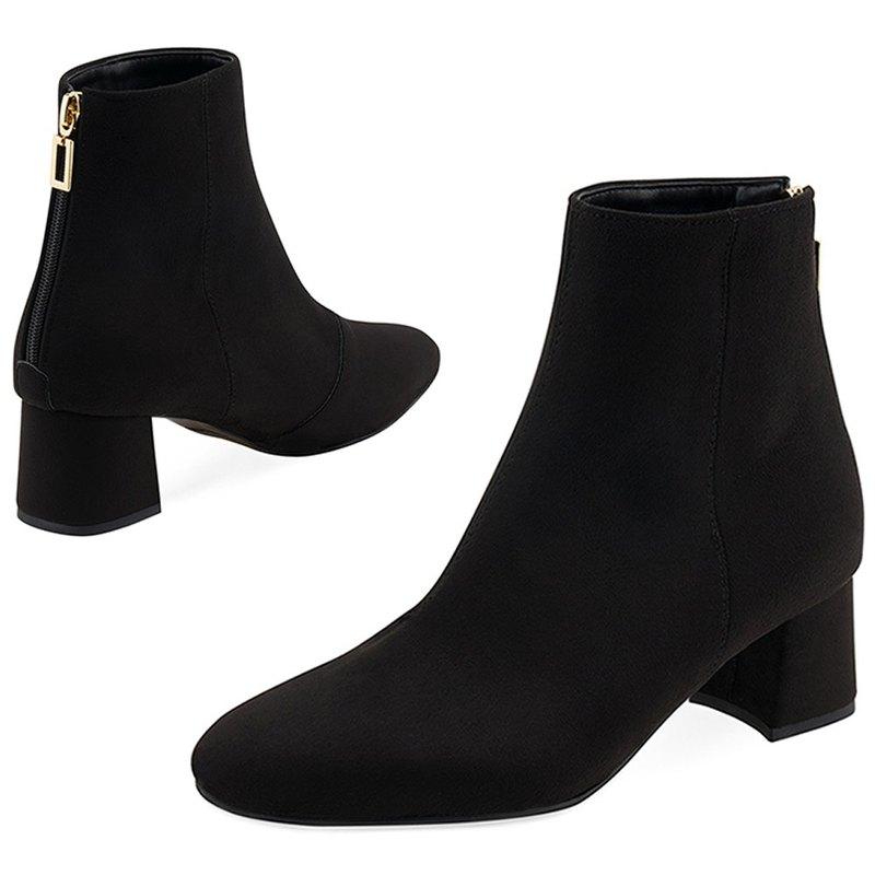 SPUR 簡約中筒切爾西靴 MF7068 BLACK