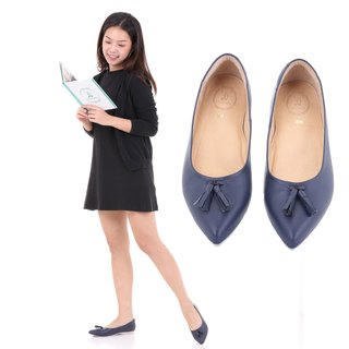 JACKIE; All-Day Pointed Ballet Flats, 100% Genuine Leather Navy Blue