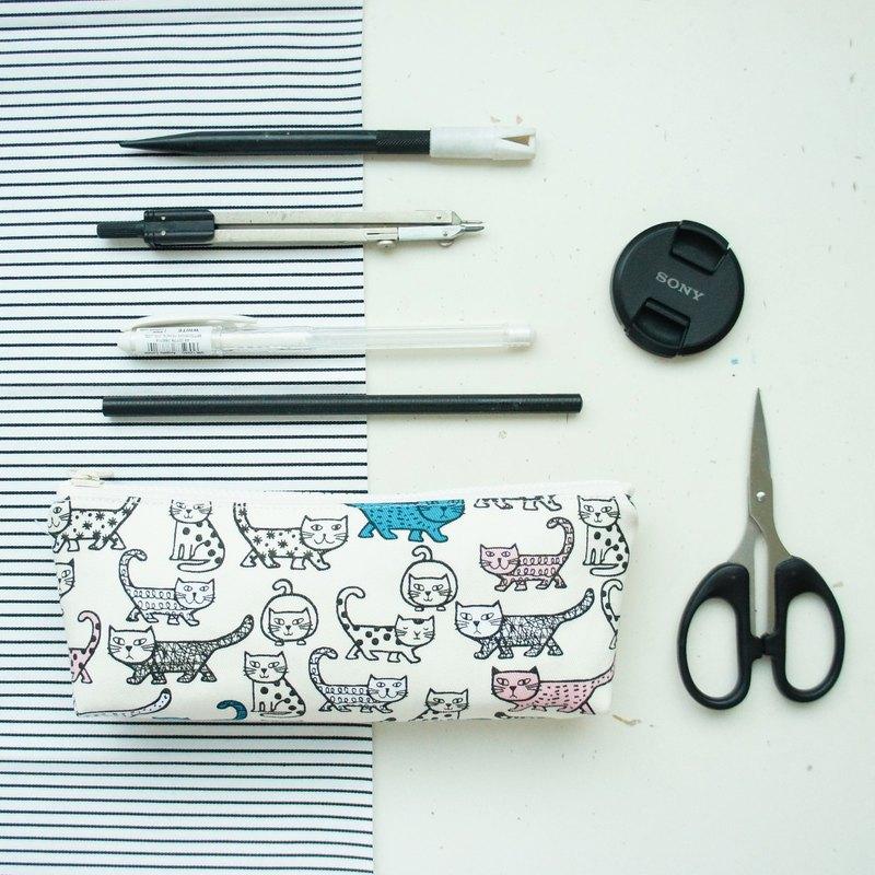 Lovely日本布【酷貓咪筆袋、米白】工具袋