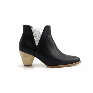 Valley (black mid heels handmade leather shoes)
