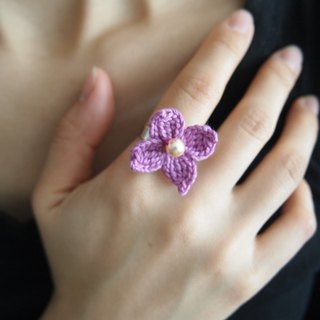 Japanese pink artificial pearls with purple lace hand-woven flower ring