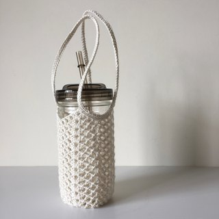 Xiao fabric mason cup straight bottle Miya ramie hand-woven double ear bag M
