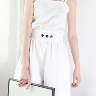 MAODIUL Abstract Pattern Double Strap Waist Pleated Vest Sling