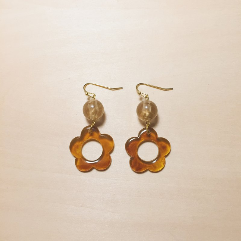 Vintage Champagne Beads Amber Flower Earrings