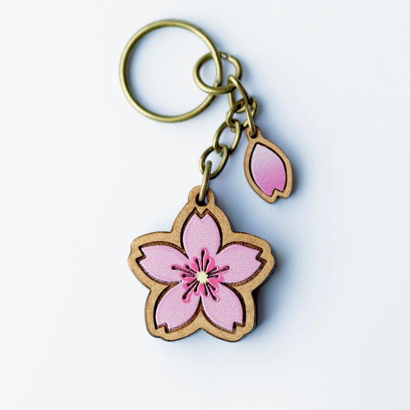 彩繪木製鑰匙圈-櫻花