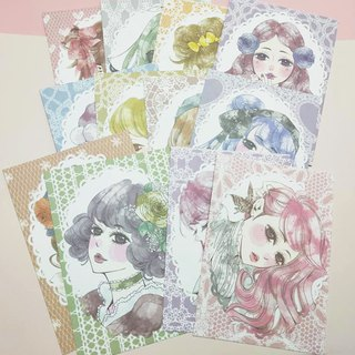 Girl illustration postcard (12 models)