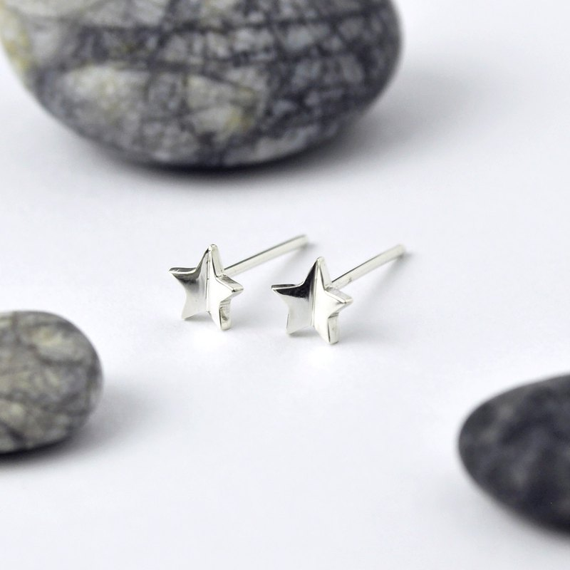 Sterling Silver Mirror Image Star Stud Earrings
