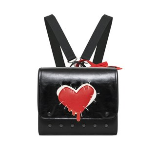 SEWED HEART MINI ARTIFICIAL LEATHER BACKPACK