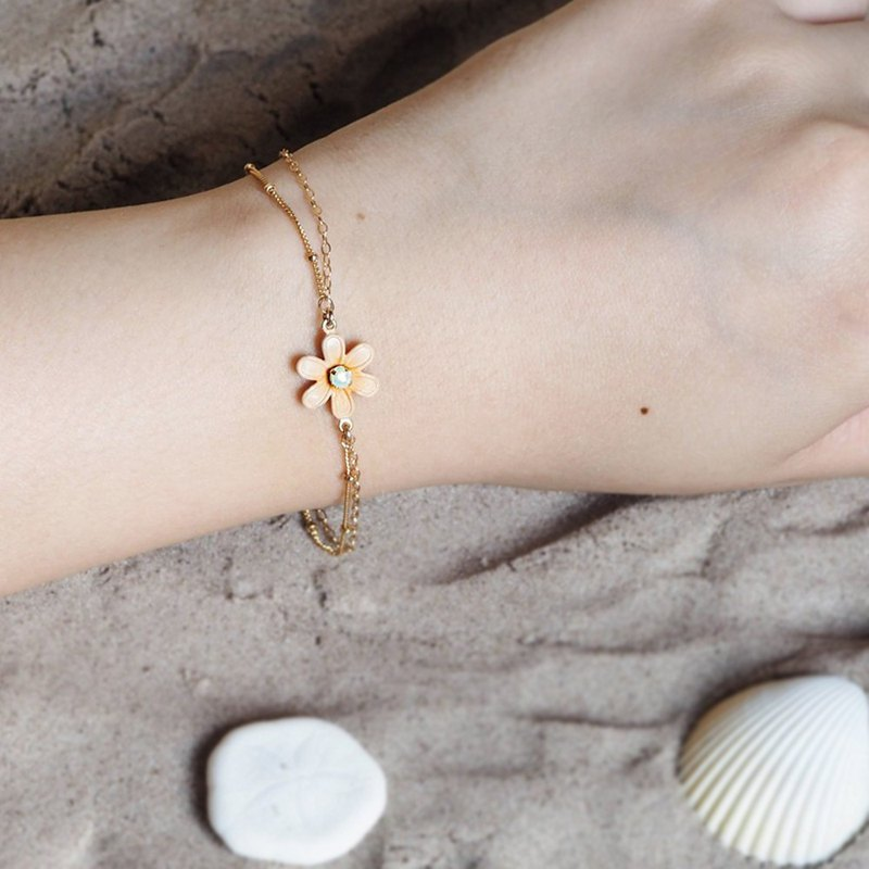 Jasmine Flower Layered Gold Bracelet \ 14K Gold Filled \ Swarovski Crystals