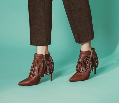 Fringed drape decoration side v pointed thin with leather ankle boots red