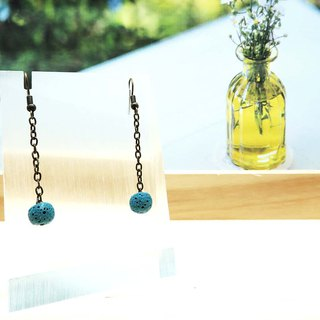 Dangle Hook Piercing Diffuser Earrings Powder Blue Aroma Rock Lava Beads 1 Pair