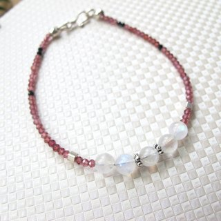 【Strawberry Sundae】 Moonstone x Red Garnet x Spinel x 925 Silver - Handmade natural stone series