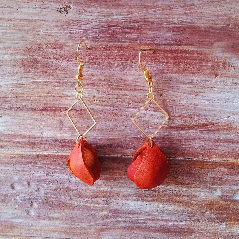Petal Earrings Orange Fishing Diamond Shaped Clipable Leather Handmade Kai Handmade Leather