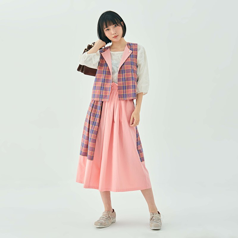 PINK  CHERRY BLOSSOM SPRING  PLAID COTTON  MOSAIC LONG  SKIRT