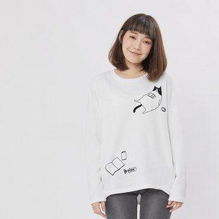 Lazy cat French Terry Long Sleeves T-shirt / White