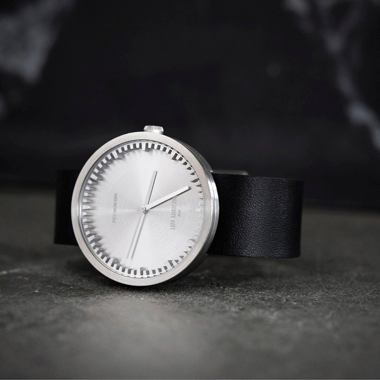 LEFF amsterdam | tube Nordic industrial gear design leather watch (42mm, stainless steel, black belt)