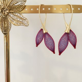 French handmade nylon double flower 苞 earrings _ purple red