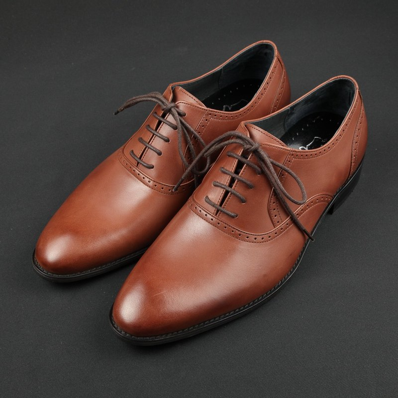 Simple Plain Toe Lace Up Oxford Shoes - Vintage Wine Red