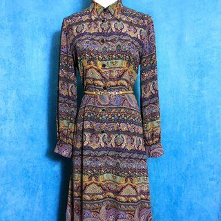 Elegant totem long-sleeved light antique dress / foreign bring back unique