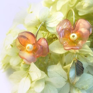 Cherry Pansy Asymmetry Earrings