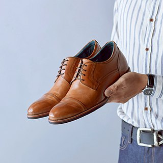 Vanger 绅 high. Concise Cap-Toe Derby increased leather shoes Va254 brown