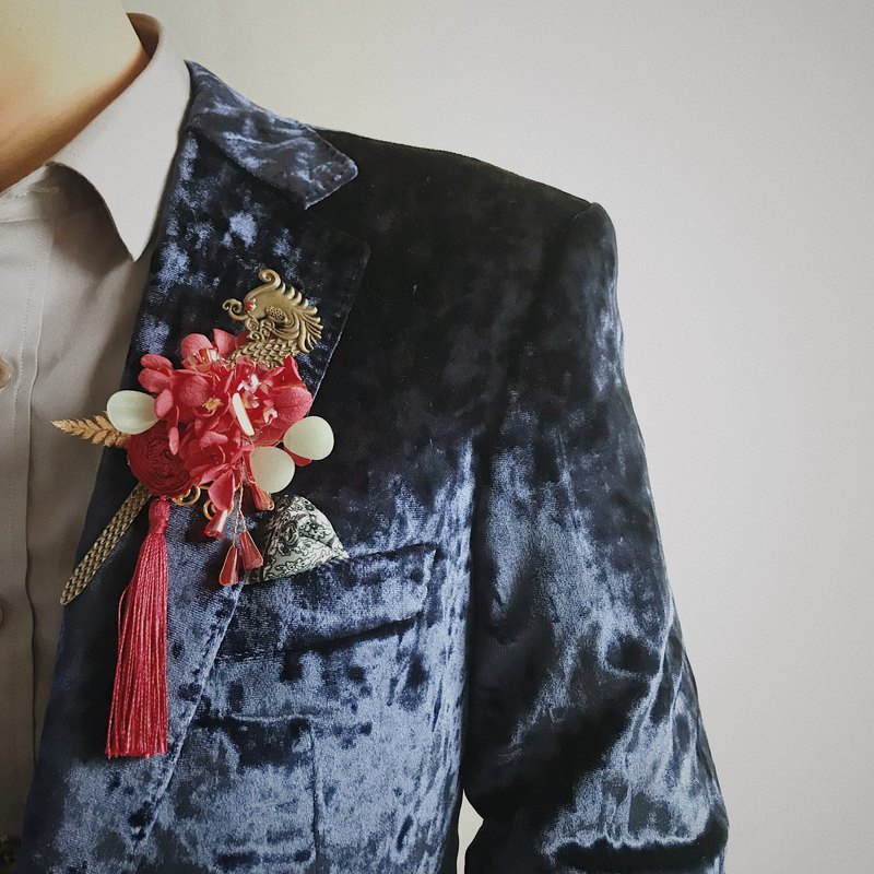 Vintage Chinese Traditional Wedding Red Corsage & Waist corsage