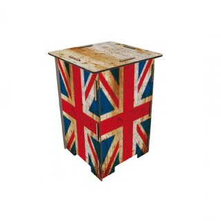 [Free Shipping] Germany Werkhaus color printing classic wooden stool with storage box - old UK