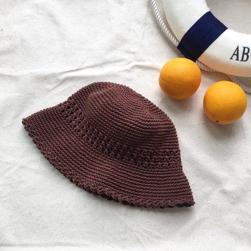Dark brown Crochet Bucket Hat
