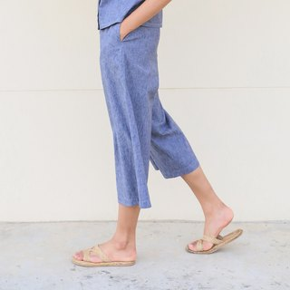 Navy Paper Pants  / Cotton Linen Hemp