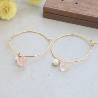 Strawberry Crystal Pearl Earrings 1102 - Love You