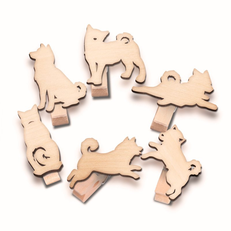 Small Shiba Inu wood clip group (six into a group)