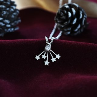 Shining Stars (Pure Silver Necklaces with Zircon Silver) Christmas Gifts :: C% Handmade Jewelry ::