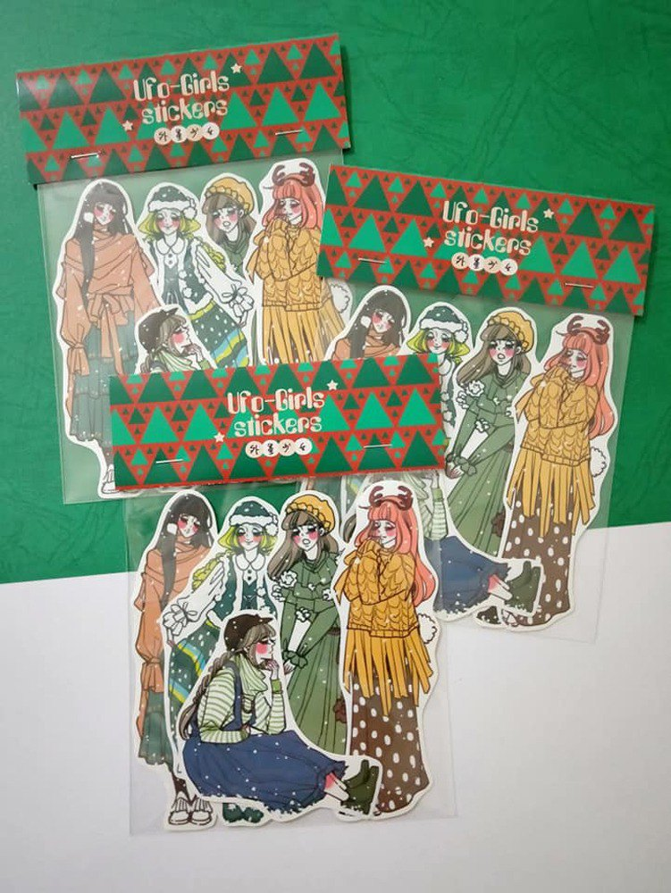 Green christmas girl sticker set