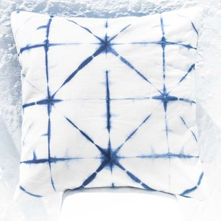 Blue dye hug pillowcase / cotton hug pillowcase / printed hug pillowcase / indigo blue dye hug pillowcase - blue dyed geometry