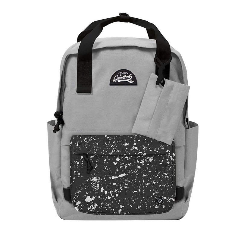 Grinstant Removable 15.6-inch Rear Backpack-Black and White Series (Gray with Spray Paint)