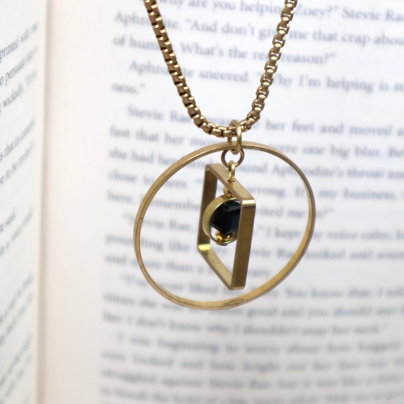 Black brass necklace Swarovski crystal brass between squares