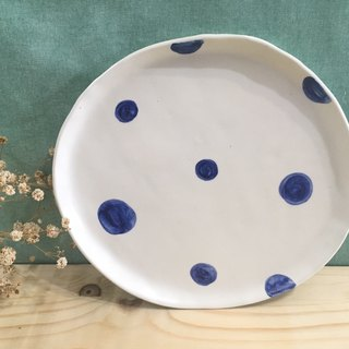 Pottery dish - blue round dots