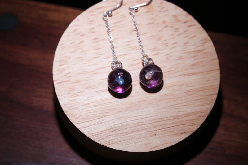 Cosmic series handmade glass purple milky glass earrings 925 sterling silver hook earrings can be changed