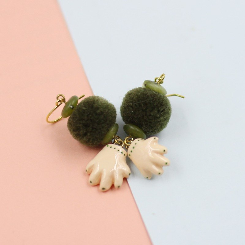 paramecium [Li] Peach Hand clay jewelry original creative design Earrings
